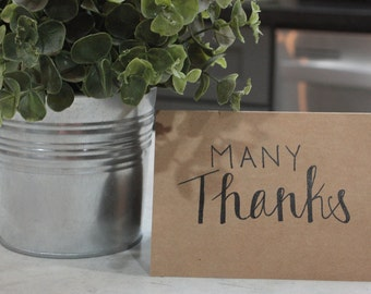 """Hand scripted """"Many Thanks"""" Card"""