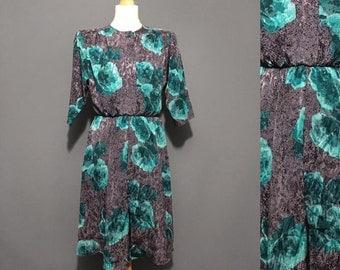 1980s Vintage Blue floral dress