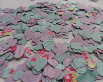 lilac, turquoise, hot pink and yellow heart table confetti
