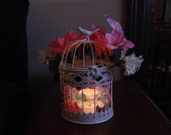 Silk Flower Wedding Centerpiece- White Birdcage