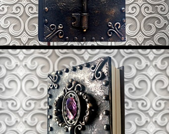 Black handmade notebook Polymer clay journal Vintage book Personal diary Writing journal Memory book Unique gift Magic key Vampire diary