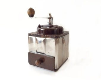 French PEUGEOT coffee grinder. 1950's kitchenware. Industrial decor.Bakelite coffee mill.