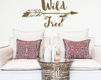 Wild and Free Wall Decal- Arrow Wall Decal- Inspirational Quote Wall Decor- Tribal Wall Decal Boho Bohemian Nursery Bedroom Home Decor #26