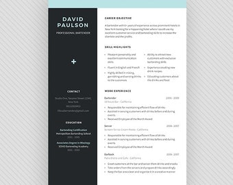 "BARTENDER Resume Template / CV Template + Cover Letter for MS Word and Photoshop | Instant Digital Download - ""Martini"""