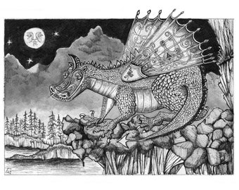 Medieval mystical fantasy dragon giclee pen and ink print