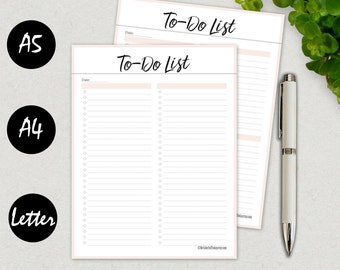 To Do List Printable, To Do List Notepad, To Do Planner Inserts, To Do List Notebook Printable, Planner Pages, A5, A4, Letter, PRINTABLE PDF