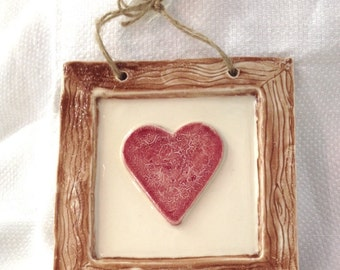 Rustic Framed Red Heart Ceramic Pottery