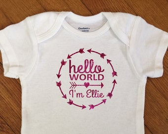 SALE! Glitter Hello World Arrow Circle Personalized Shirt, Girl Name Outfit, Glitter Bodysuit, Infant Onesie®,  Baby Shower, Personalized