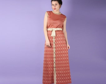 Coral 70s Lurex Maxi Dress