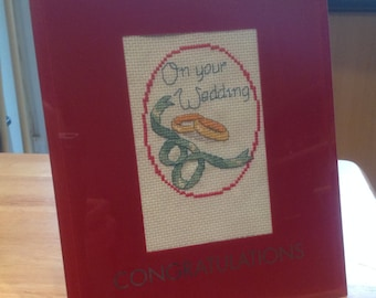Completed cross stitch Wedding gift can personalise