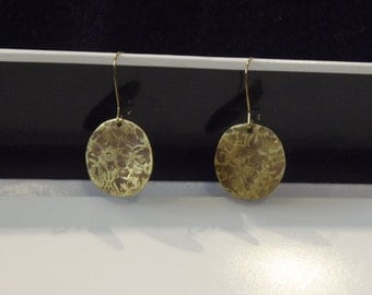 Distressed disk earrings