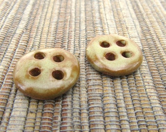 2 Hand Made Ceramic Buttons in Rustic Beige, Brown Pottery Buttons, 2 Ceramic Buttons, Stoneware Buttons, Small, Ready to Ship