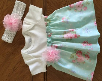 Infant Girl Onsie with Attached Ruffled Skirt