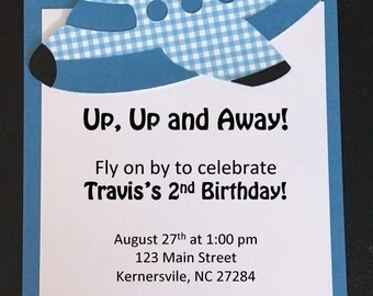 Airplane Birthday Invitations - 10 qty with Envelopes