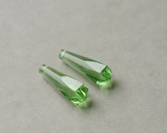 Green Glass Beads, Glass Briolettes, Faceted Glass Beads, Long Green Briolette, Spring Green Beads, Earring Components