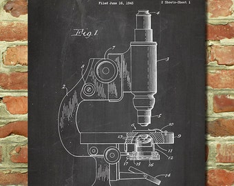 Microscope Science Art Poster Science Gift for Science Teacher Gift for Chemistry Teacher Gift for Biology Teacher Gift Chemistry Art P101