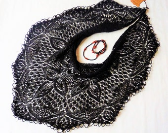 Knitted shawl in 100% bio black mohair, Haute couture, Handmade