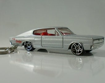 Hot Wheels 67 Dodge Charger Custom Key Chain in Silver FREE SHIPPING