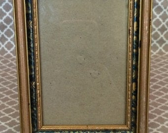 Vintage wood picture frame - inner black trim decorated with foliage, flowers, and butterflies