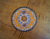 Colorful Painted Saw Blade, Dots, Upcycled, Repurposed, Sustainable, Blue, Orange, Mandala, Construction, Tools, Hardware, Black, White