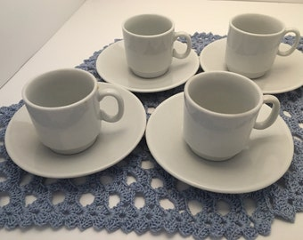 Dainty white espresso or tea cup and saucer set, vintage, made in China