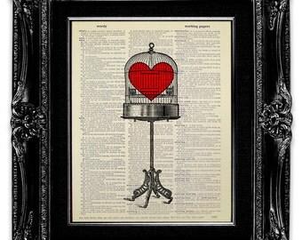 Antique Bird Cage Art, BIRD CAGE Decor, BIRDCAGE Decor, Heart Decor, Heart Print, Bird Lover Gift, Victorian Birdcage Art Print, Love Cage