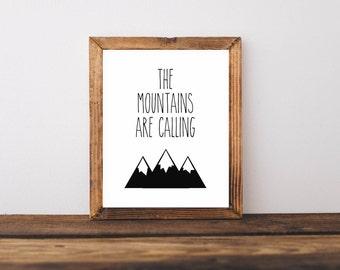 The mountains are calling Printable, Digital Printable
