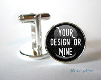Custom Cufflinks, Silver or Bronze, Photo Cuff Links, Personalized, Gifts for Men, Dome Glass Cufflinks, Weddings, Formal Wear