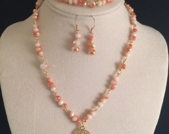 Crystal Beaded Necklace set with a Gold Filled Tree Of Life Pendent