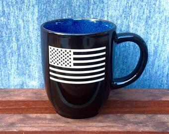 American Flag Coffee Mug, Professionally Sand Carved