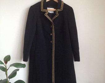 1960s Black Mayfair Coat Velvet and Gold Trim Sz UK10-12