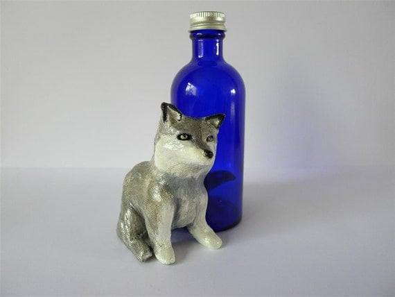 Silver Wolf Cub with Deep Blue Bottle (Unique and Handmade)