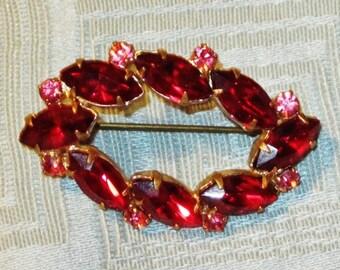Vintage Ruby Red Rhinestone Oval Brooch
