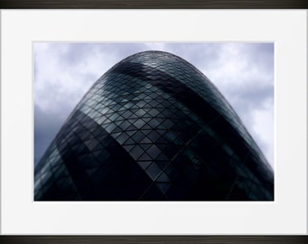Industrial Building print modern urban London Gherkin glass architecture photo, photography, fine art, wall art, home decor, metallic UK