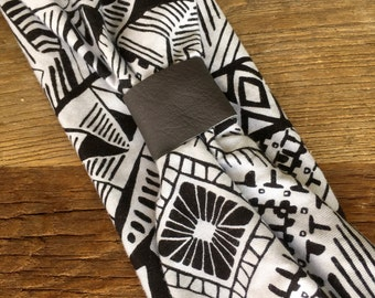 Leather Accented Headband - All About Black and White Print