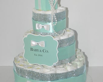 Baby & Co Shower Diaper Cake Centerpiece Robin Egg Blue Bling w/ White Bows, Pearl Box as Cake Topper 3 Tier 60 Diapers Included