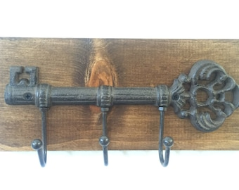 Wall Key Holder, Rustic Key Holder, Wall Key Rack, Key Rack, Cast Iron Key Hook