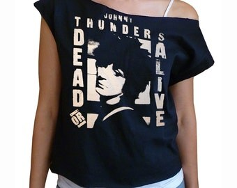 Dead Or Alive - Johnny Thunders off-shoulder raw edge cropped top