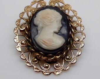 Black and White Cameo Brooch. Cameo in Gold Tone Filigree. Classic, Timeless.