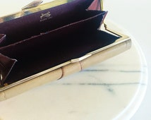 Vintage St. Thomas Tan & Marsala Leather Clutch with Gold Clasp and Satin Interior