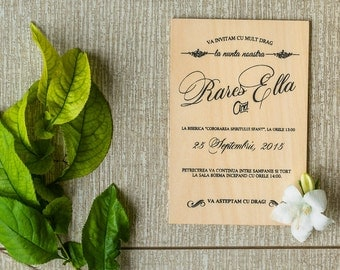 Real wooden invitations/ wood invitation/ Wooden wedding