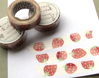 Large Red Strawberries Shinzi Katoh Washi Tape 15mm Width 10M Roll Japan (1)