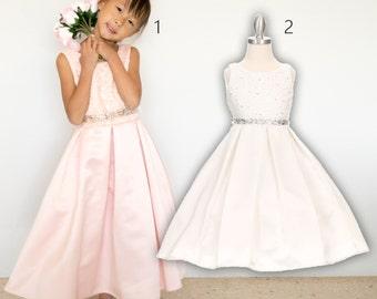 Bridal Satin Lace Dress, white pink, wedding flower girl baptism christening communion pageant