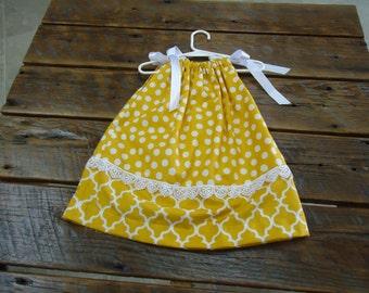 Mustard Yellow Polka Dot Dress - Size 2T