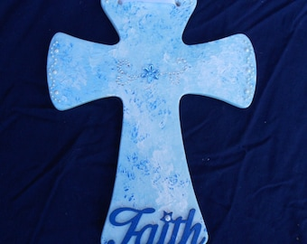Ceramic Blue Jeweled Cross with pearls