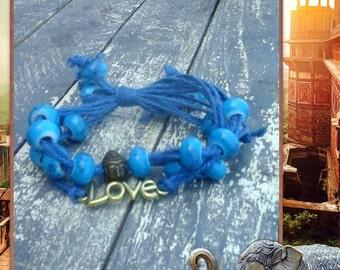 Buddha bracelet, Blue stone beaded golden tone love letters bracelet, Boho style cuff, Yoga bracelet