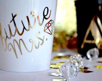 16 Oz Future Mrs. Plastic Stadium Cups Custom Bridal Party Favors Bachelorette Wedding Bridesmaid Gifts Glam Shower Diamond