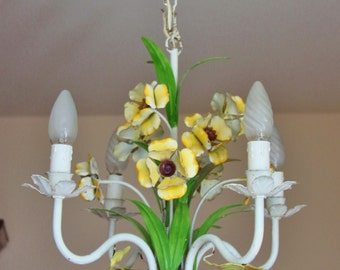 Suspension shade Buttercup vintage metal flower chandelier lamp / light ceiling France / Holy10