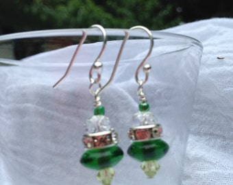 petite emerald green princess dangle & drop earrings