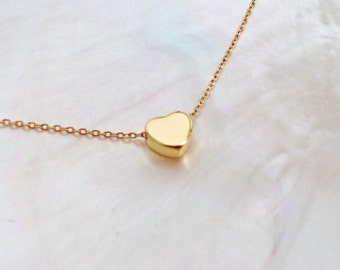 Tiny Gold Heart Necklace, 14K Gold Filled, Dainty Gold Heart Necklace, Minimalist Heart, Layering Necklace, Valentine's Day Gold Heart